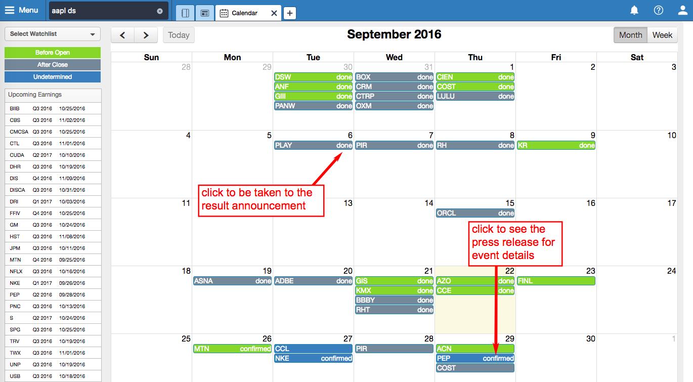 screenshot: earnings calendar
